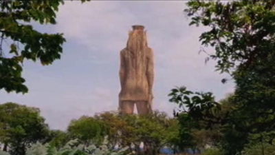 They built this statue after Anubis won his fourth national championship at Island State University